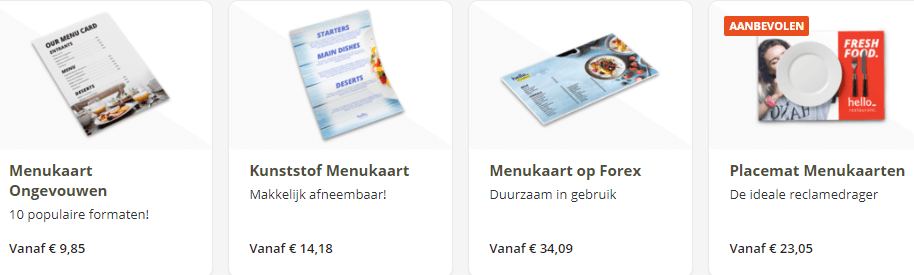 menukaarten horeca divers assortiment